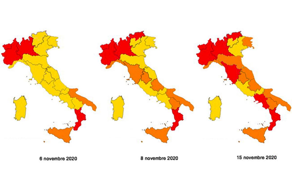 Mappa nuove zone rosse arancione e gialle