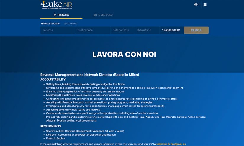 Lavorare in Blue Panorama Airlines